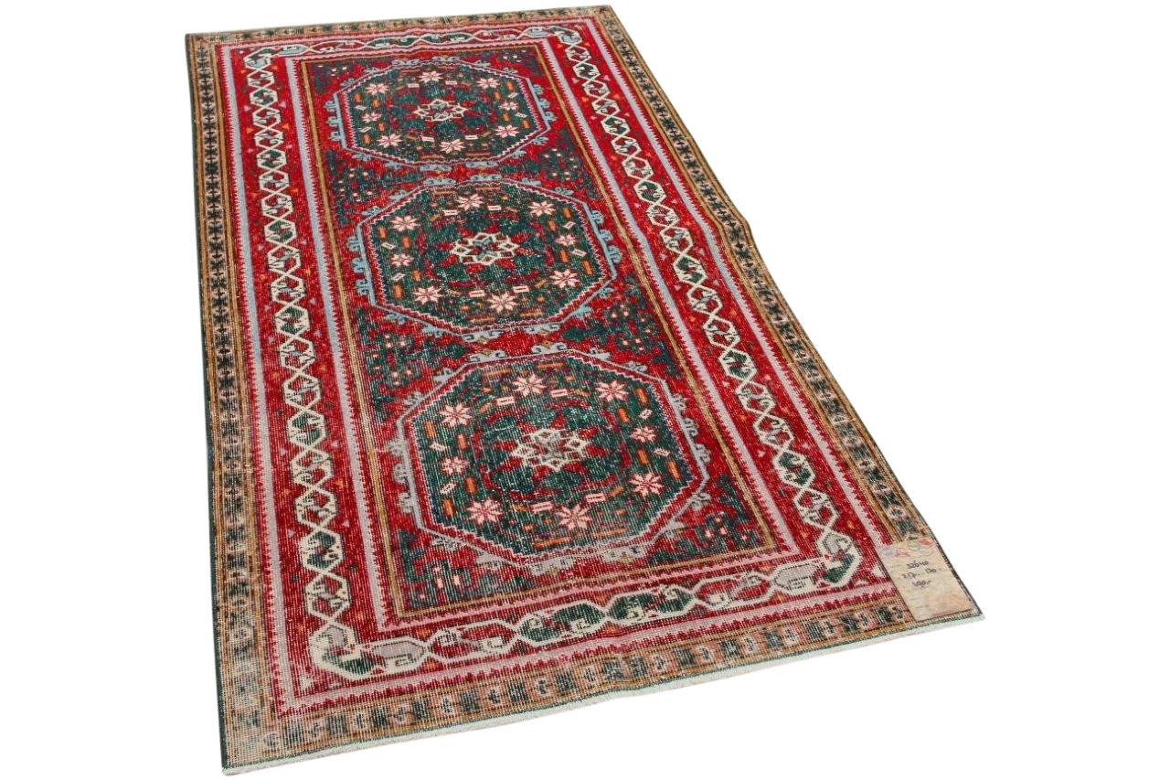 vintage vloerkleed rood met diverse kleuren 217cm x 120cm