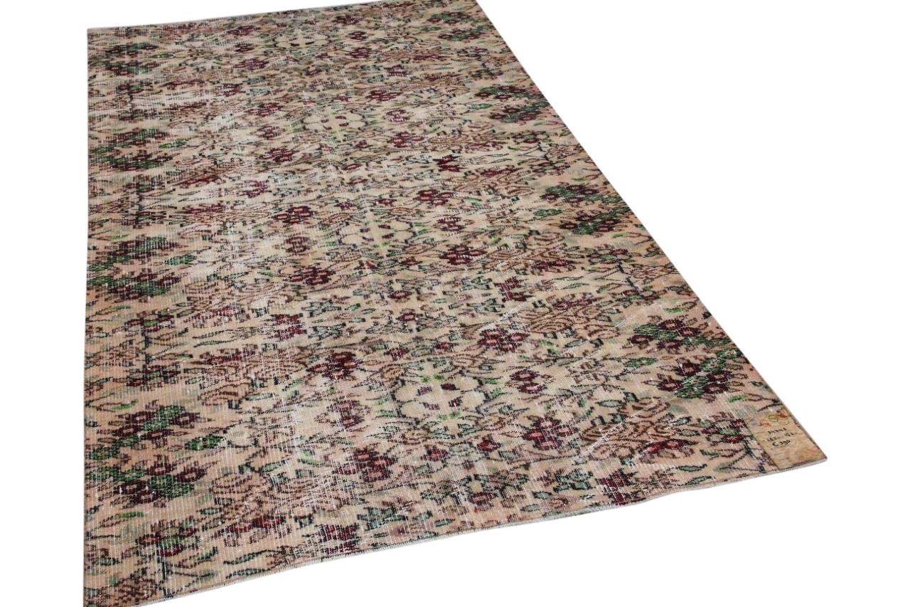vintage vloerkleed beige rood groen 34746 262cm x 152cm