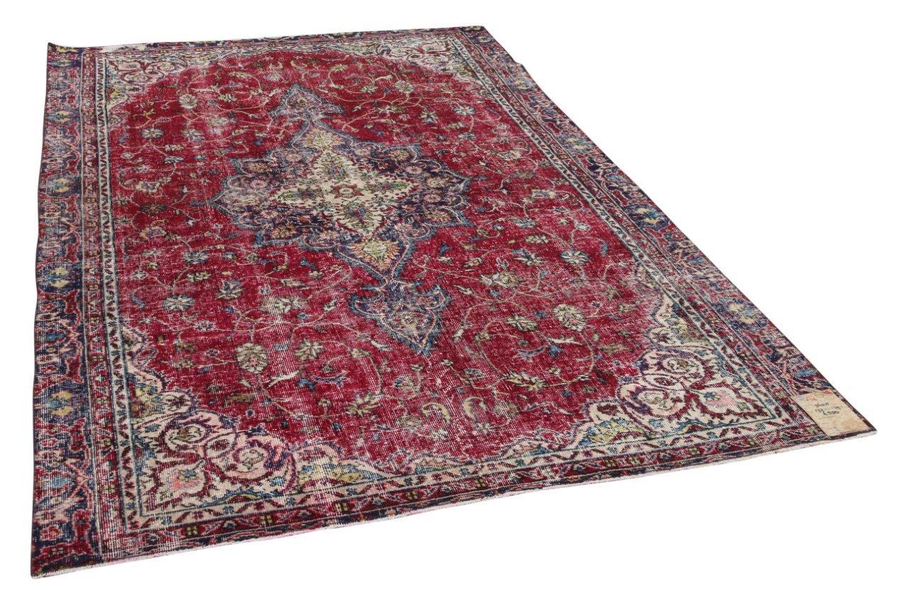 Vintage vloerkleed rood 36015 277cm x 179cm
