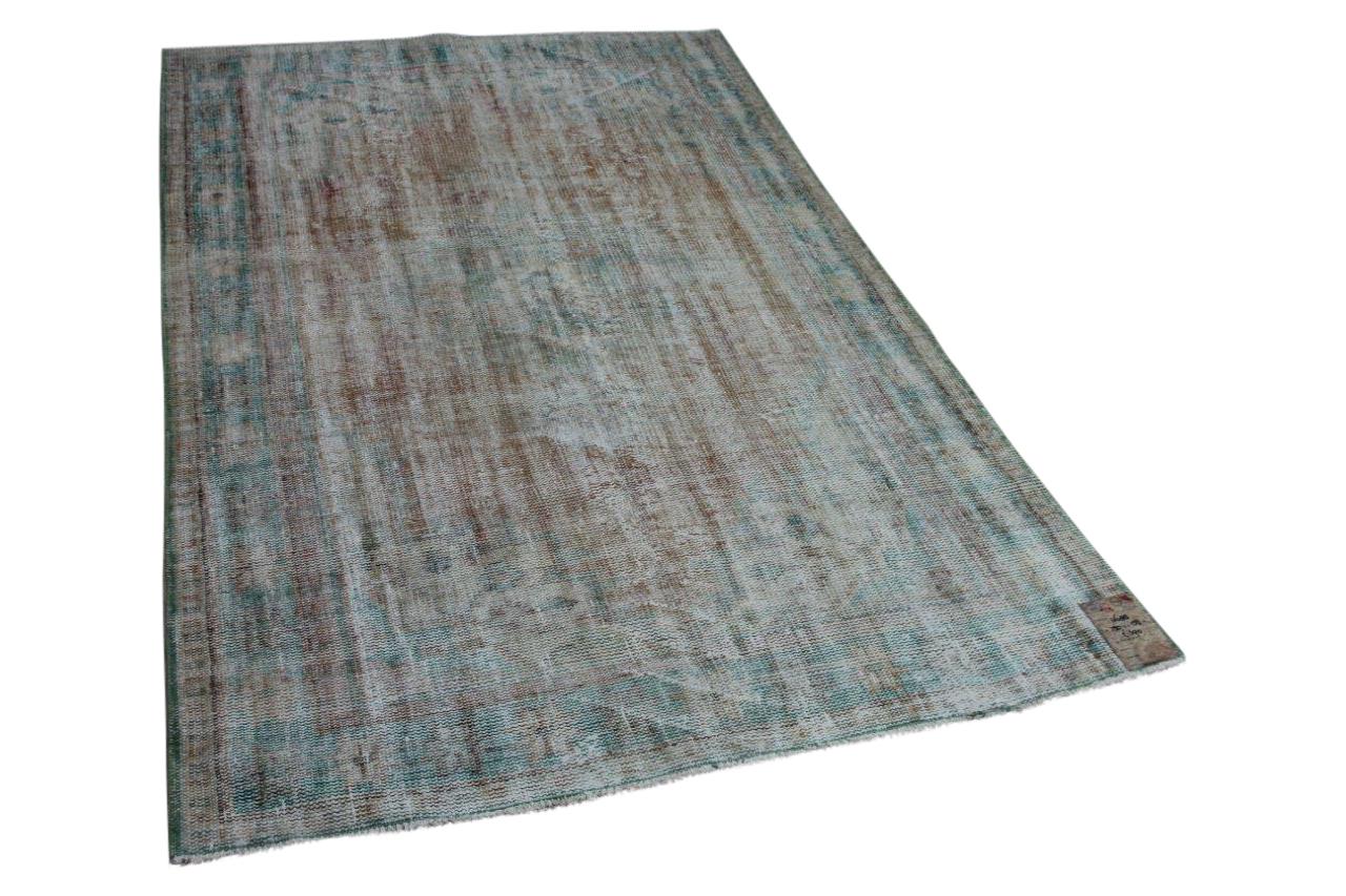 Vintage vloerkleed bruin met groen, 250cm x 158cm, nr4688