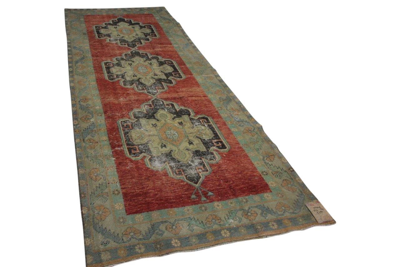 vintage vloerkleed loper met rood 55349 353cm x 137cm