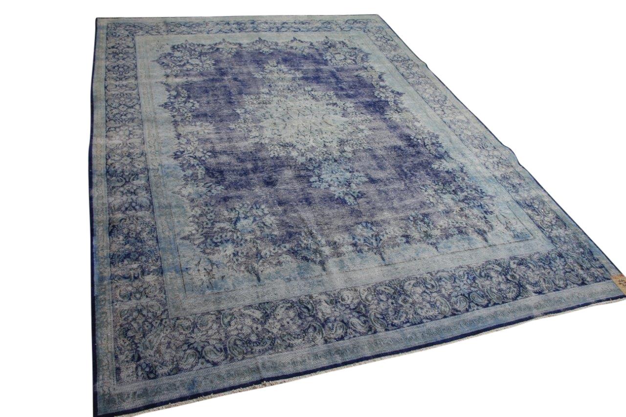 Vintage vloerkleed blauw 56263 384cm x 288cm