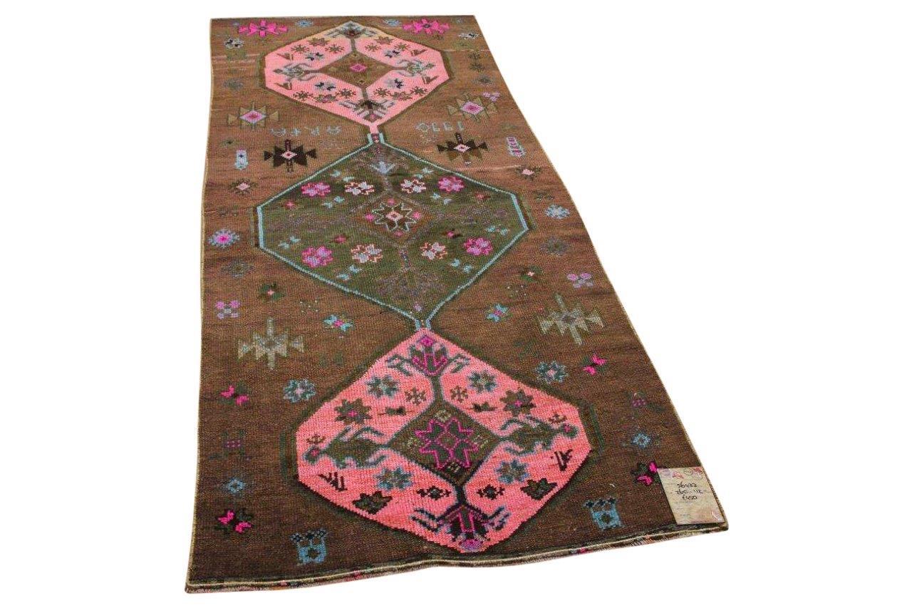 Vintage vloerkleed bruin met roze 56433 265cm x 112cm
