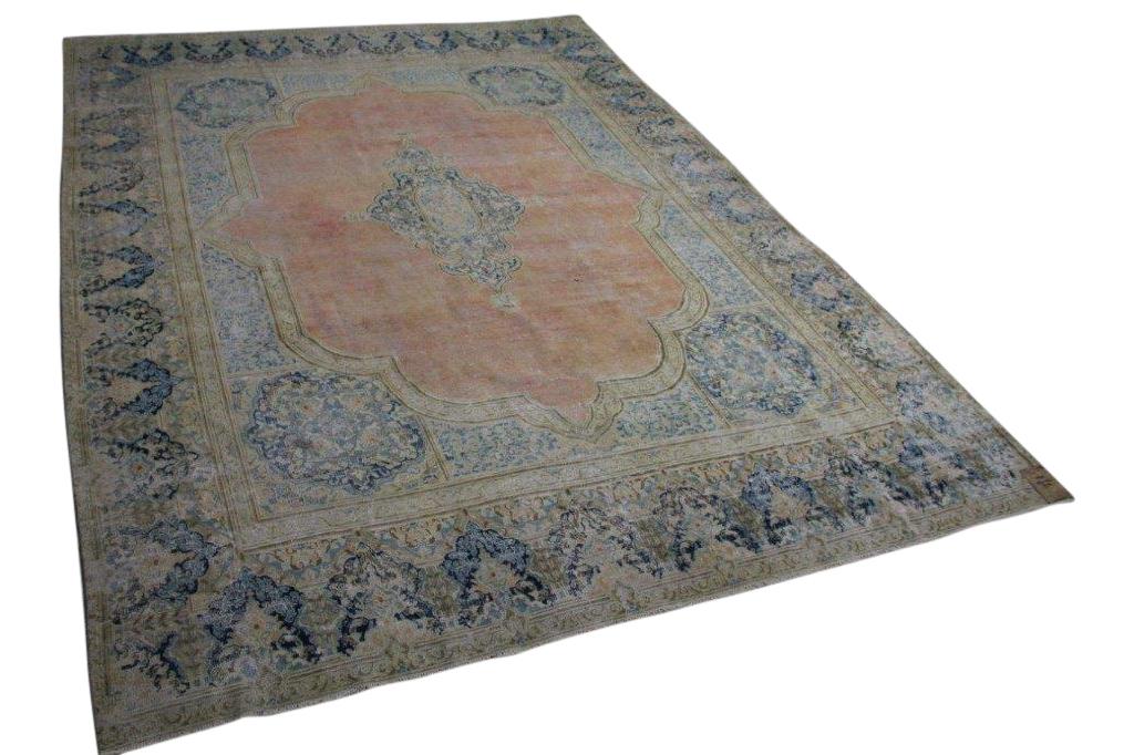 Afbeelding van Vintage vloerkleed met blauw 58401 393cm x 296cm