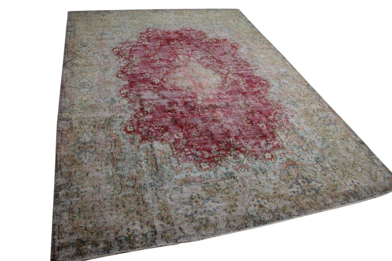 Vintage vloerkleed zandkleur met rood 58403 404cm x 289cm