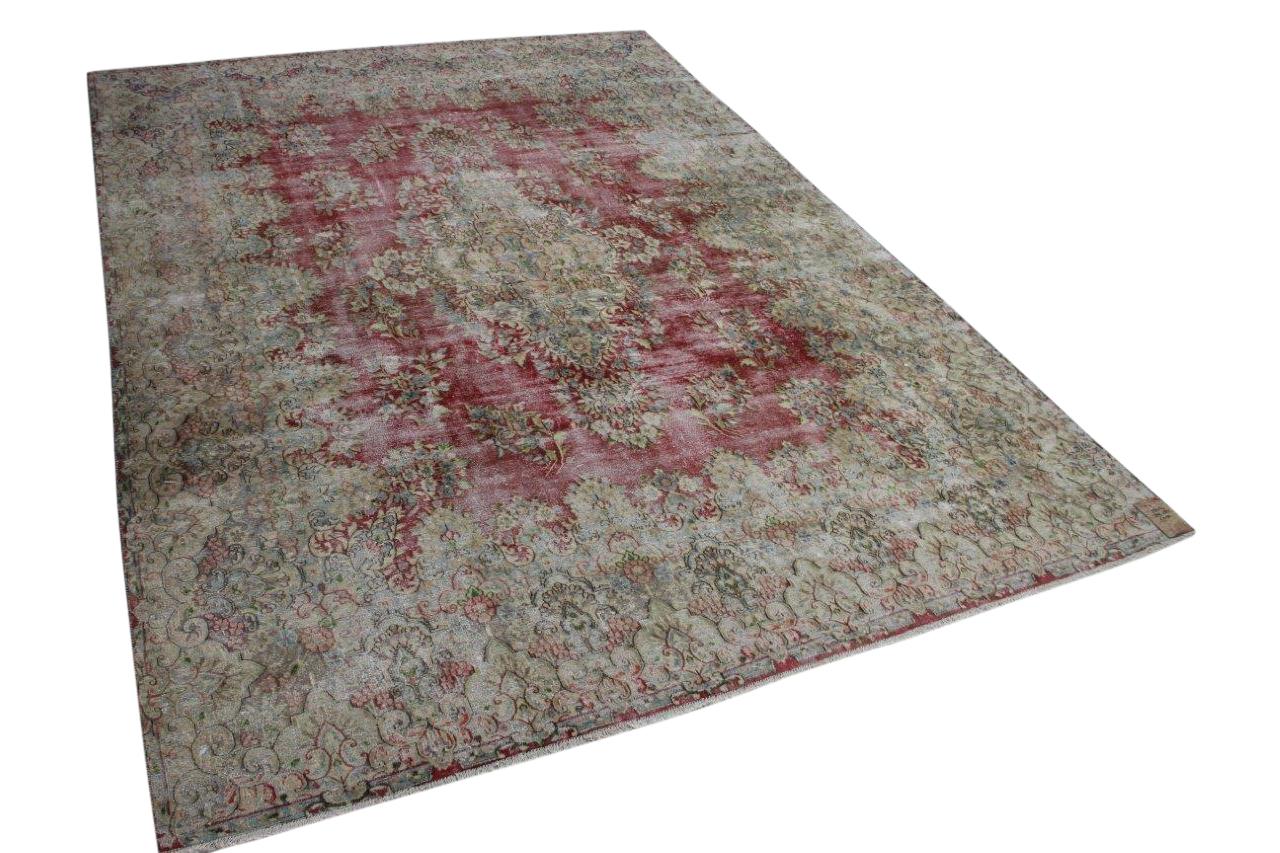 Vintage vloerkleed met rood 58404 389cm x 285cm