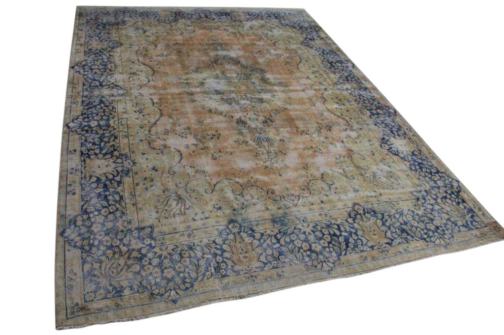 Vintage vloerkleed zandkleur met blauw 58405 387cm x 291cm