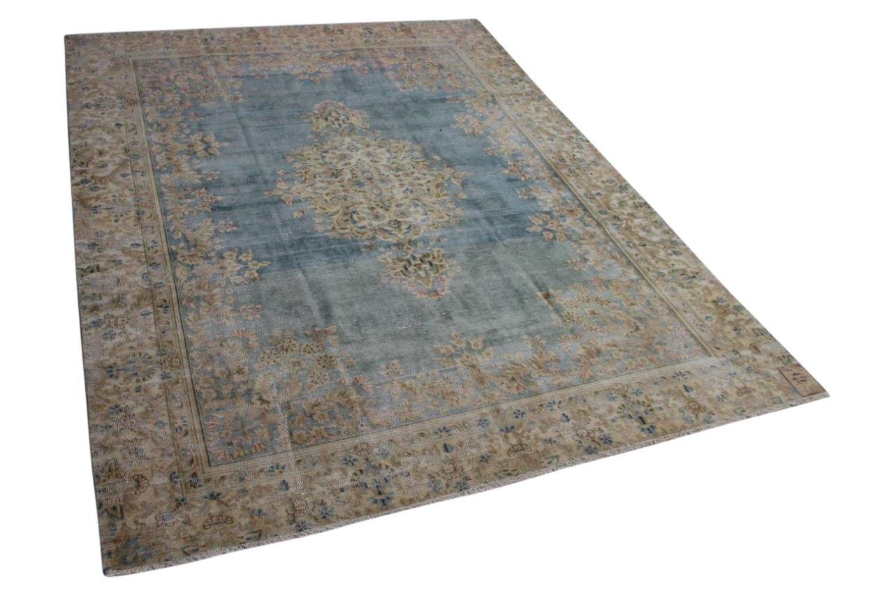 Vintage vloerkleed zandkleur met blauw 58414 325cm x 247cm