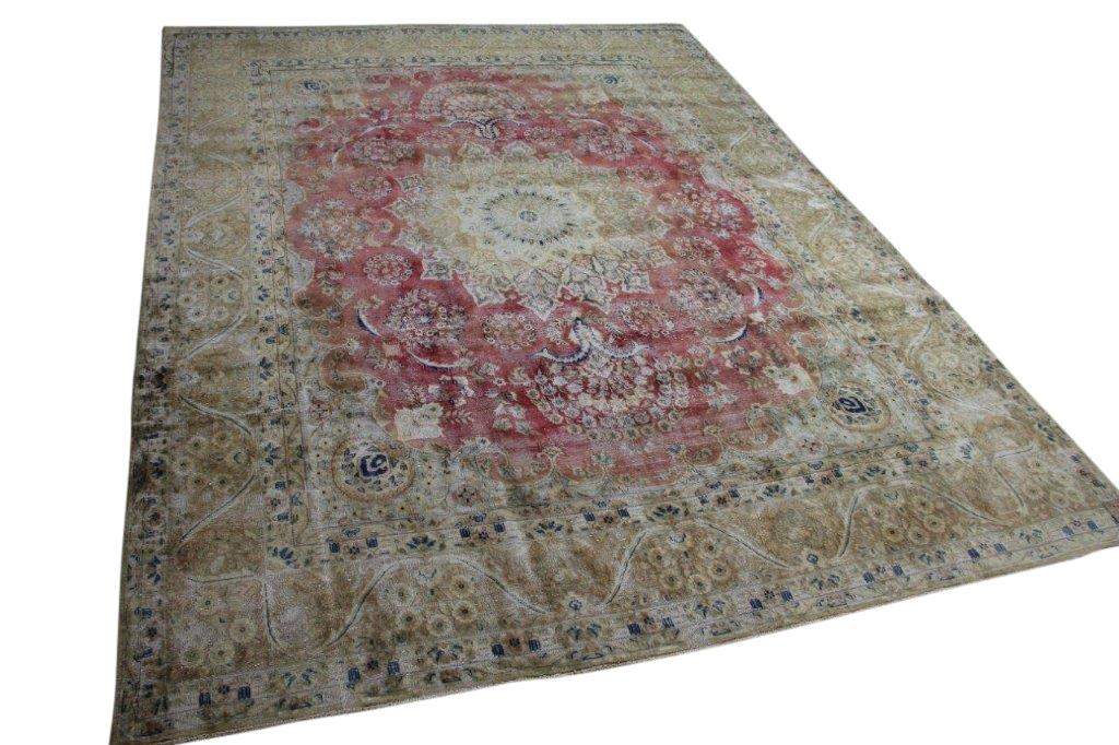 vintage vloerkleed met rood 58413 382cm x 286cm