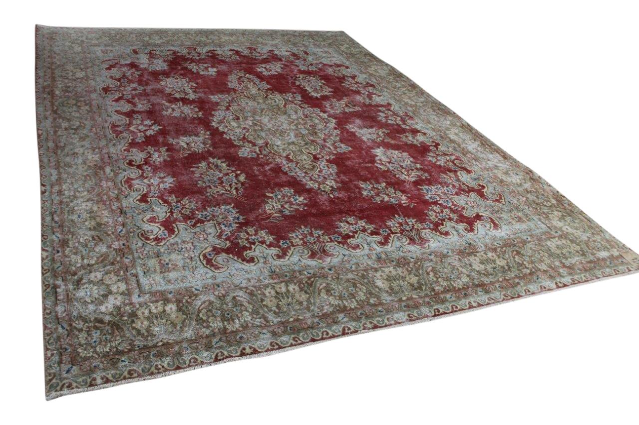 vintage vloerkleed met rood 58417 390cm x 295cm