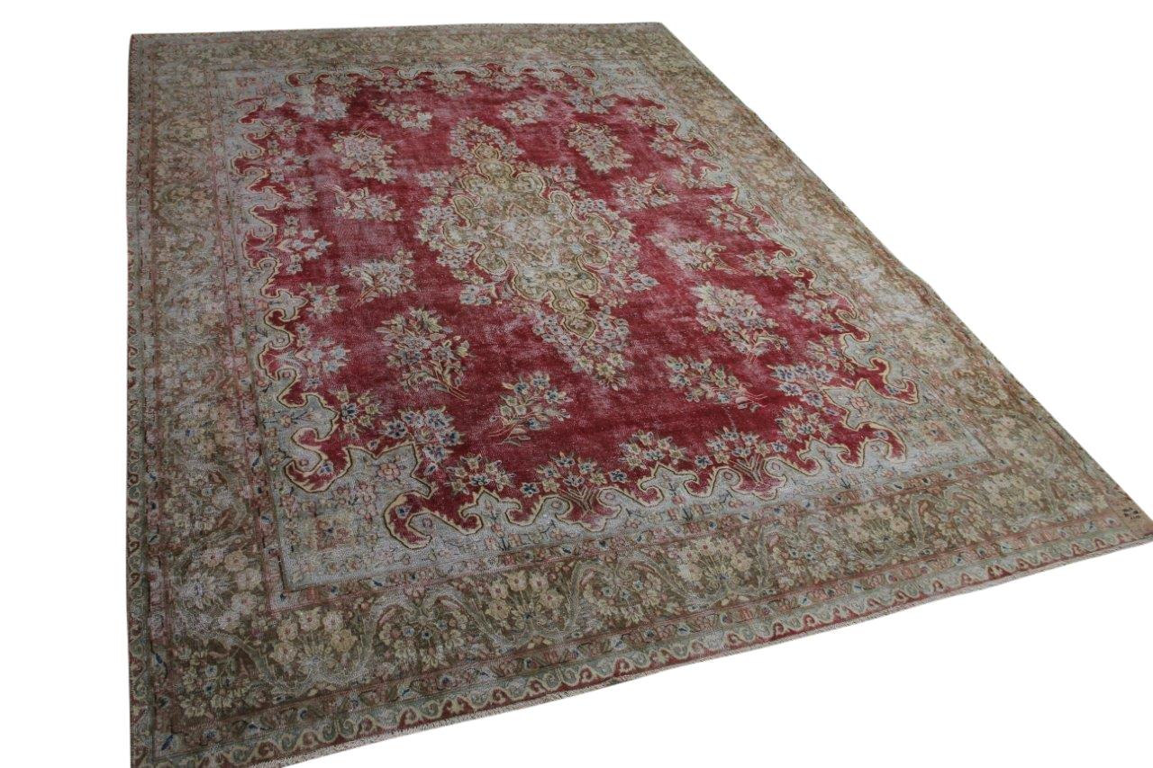 Vintage vloerkleed rood 58418 382cm x 288cm