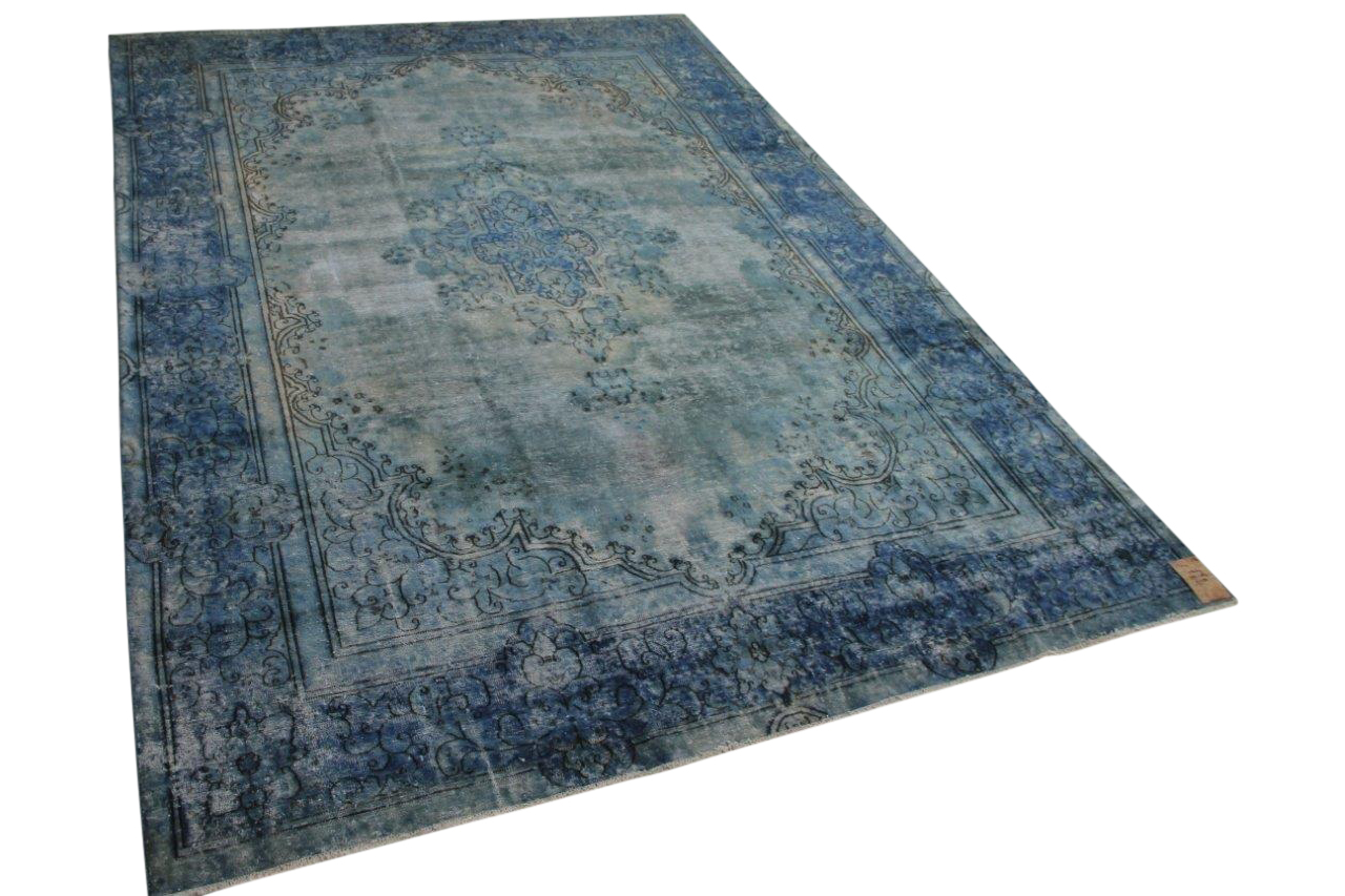 Vintage vloerkleed blauw 58462 379cm x 267cm