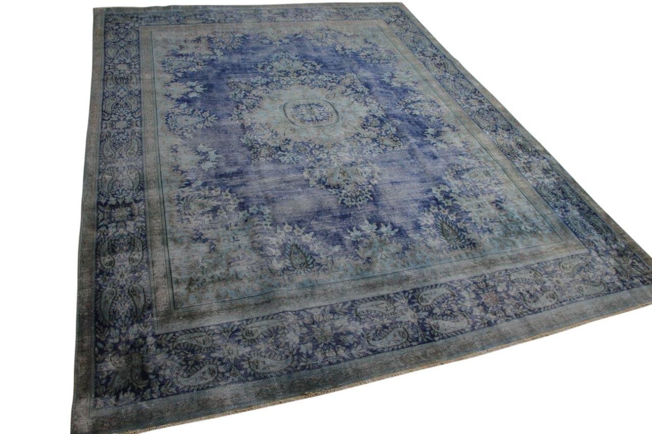 Vintage vloerkleed blauw 58463 401cm x 300cm