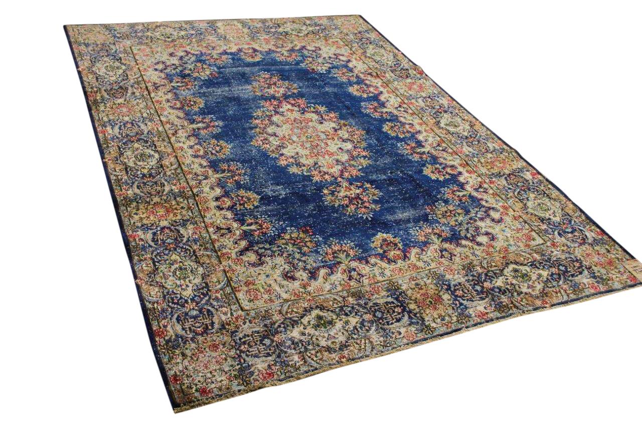 Vintage vloerkleed, met blauw, 58551, 339cm x 243cm