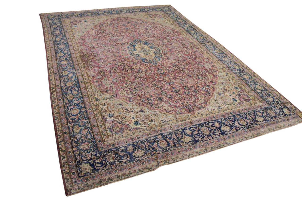 Vintage vloerkleed, met blauw en rood, 58552, 420cm x 305cm