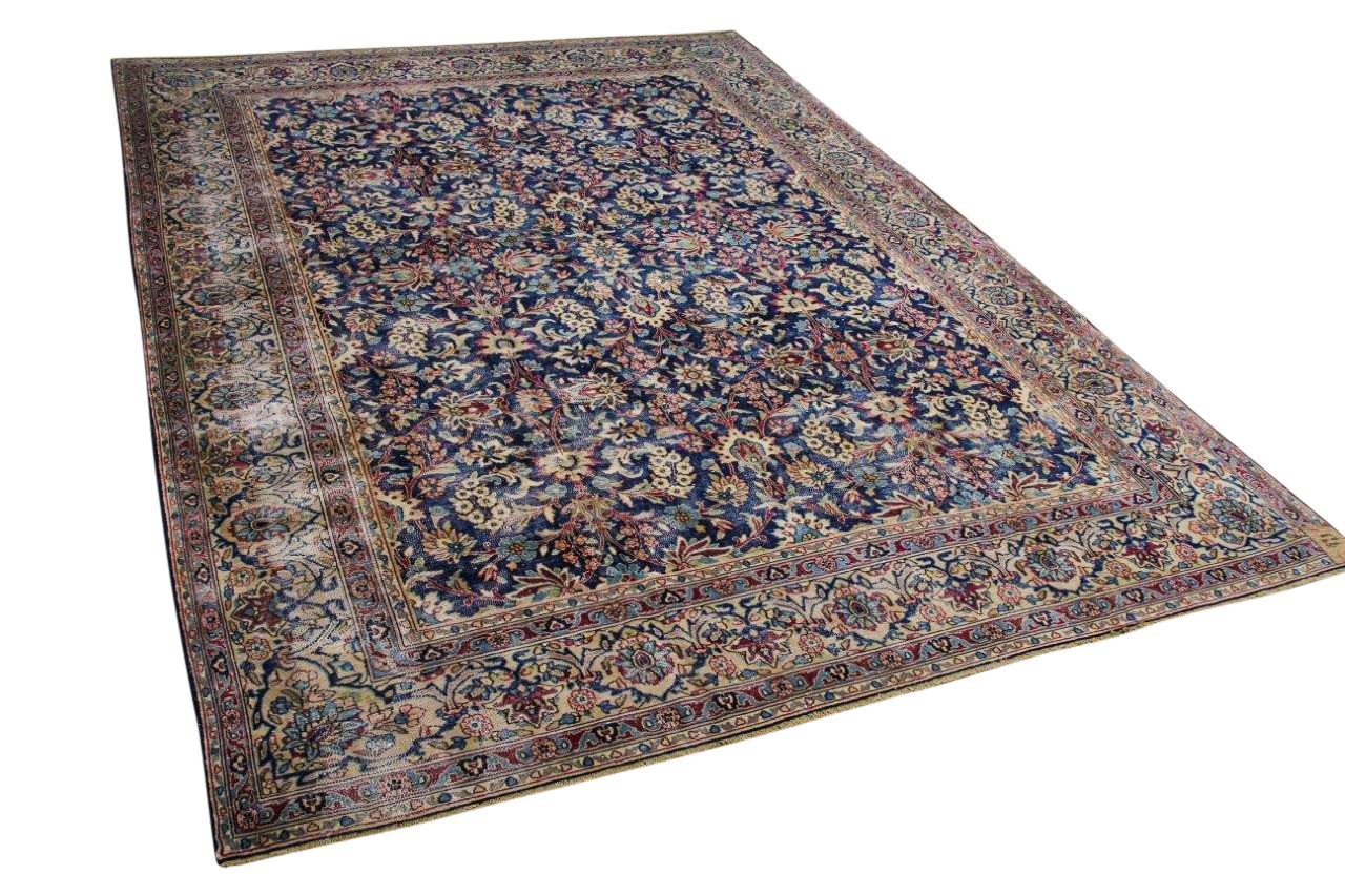 Vintage vloerkleed, met blauw en rood, 58553, 395cm x 296cm