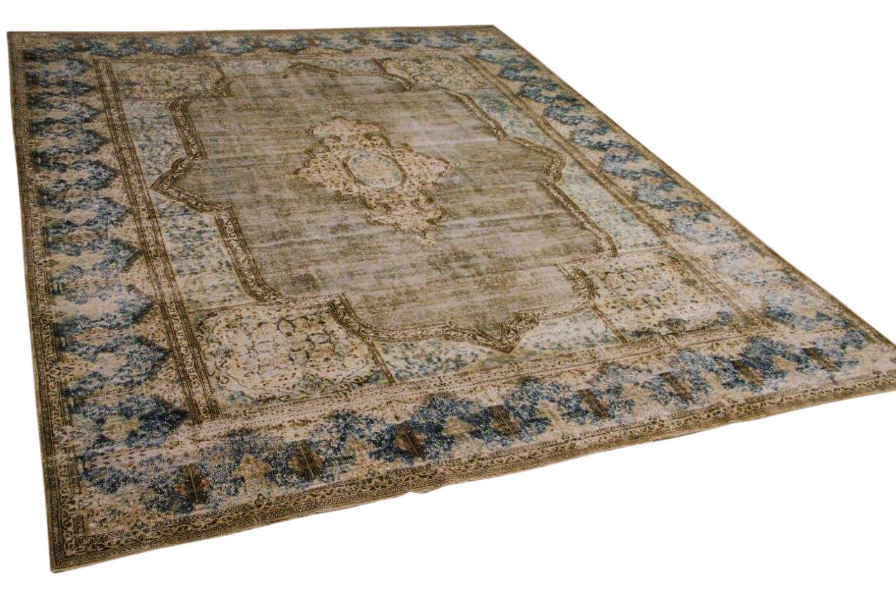 Vintage vloerkleed, zandkleur met blauw, 58561, 388cm x 304cm