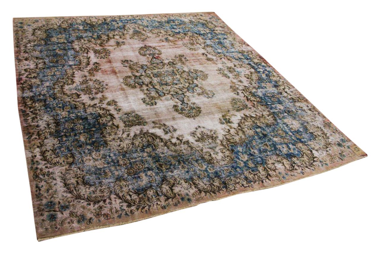 Vintage vloerkleed, met blauw en roze, 58568, 316cm x 294cm