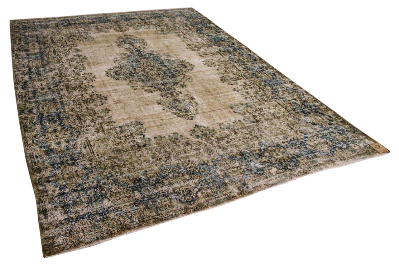Vintage vloerkleed, zandkleur met blauw en groen, 58573, 423cm x 296cm