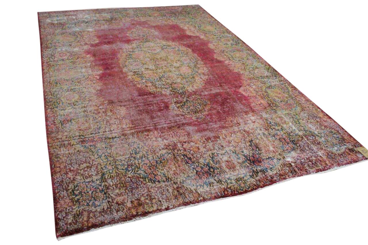 Vintage vloerkleed, zandkleur met bruin, 58556, 302cm x 224cm