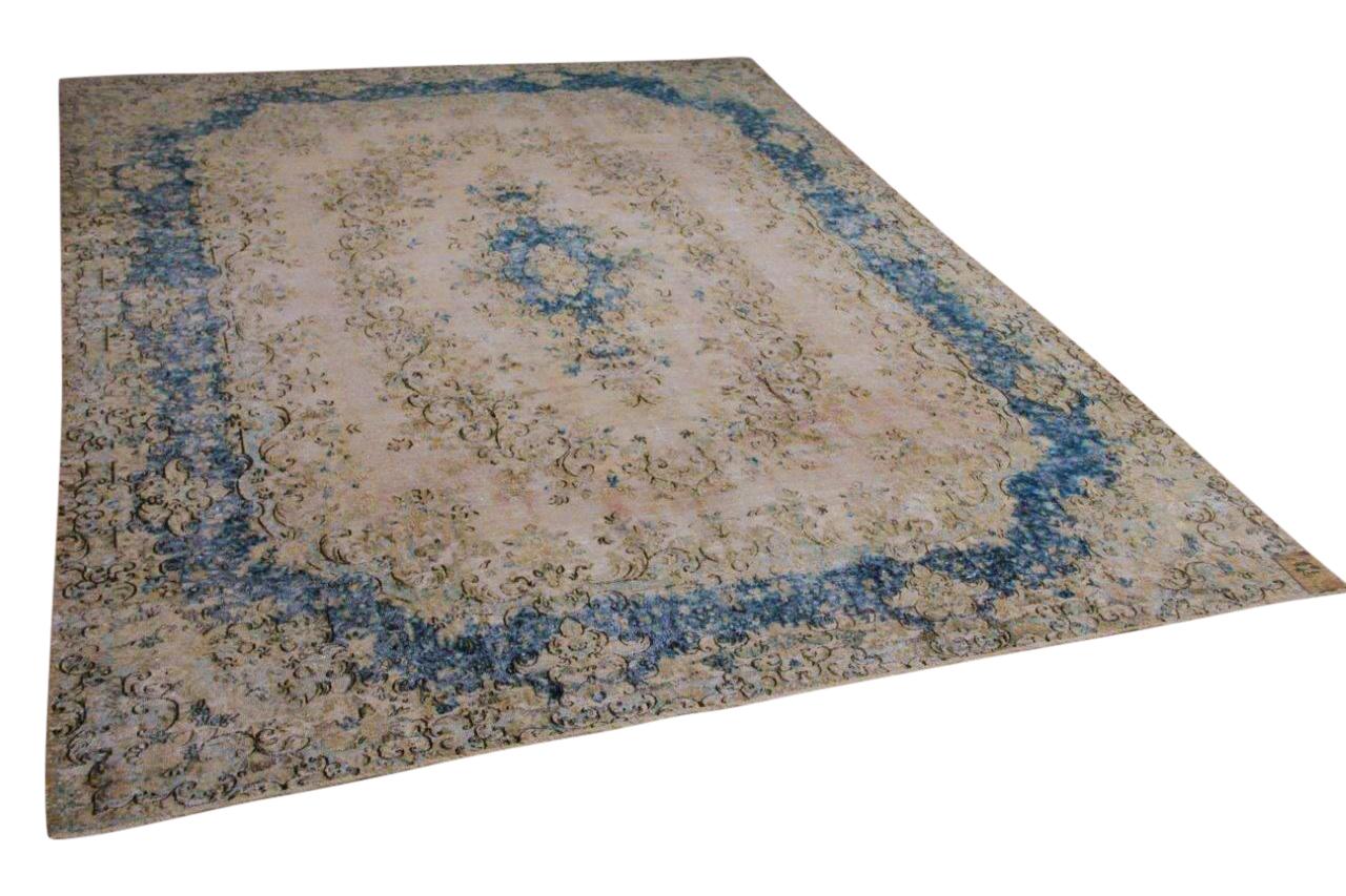 Vintage vloerkleed, zandkleur met blauw, 58586, 387cm x 287cm
