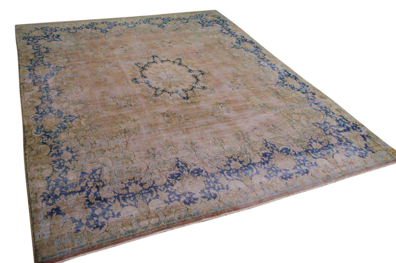 Vintage vloerkleed, zandkleur met blauw, 58591, 383cm x 300cm
