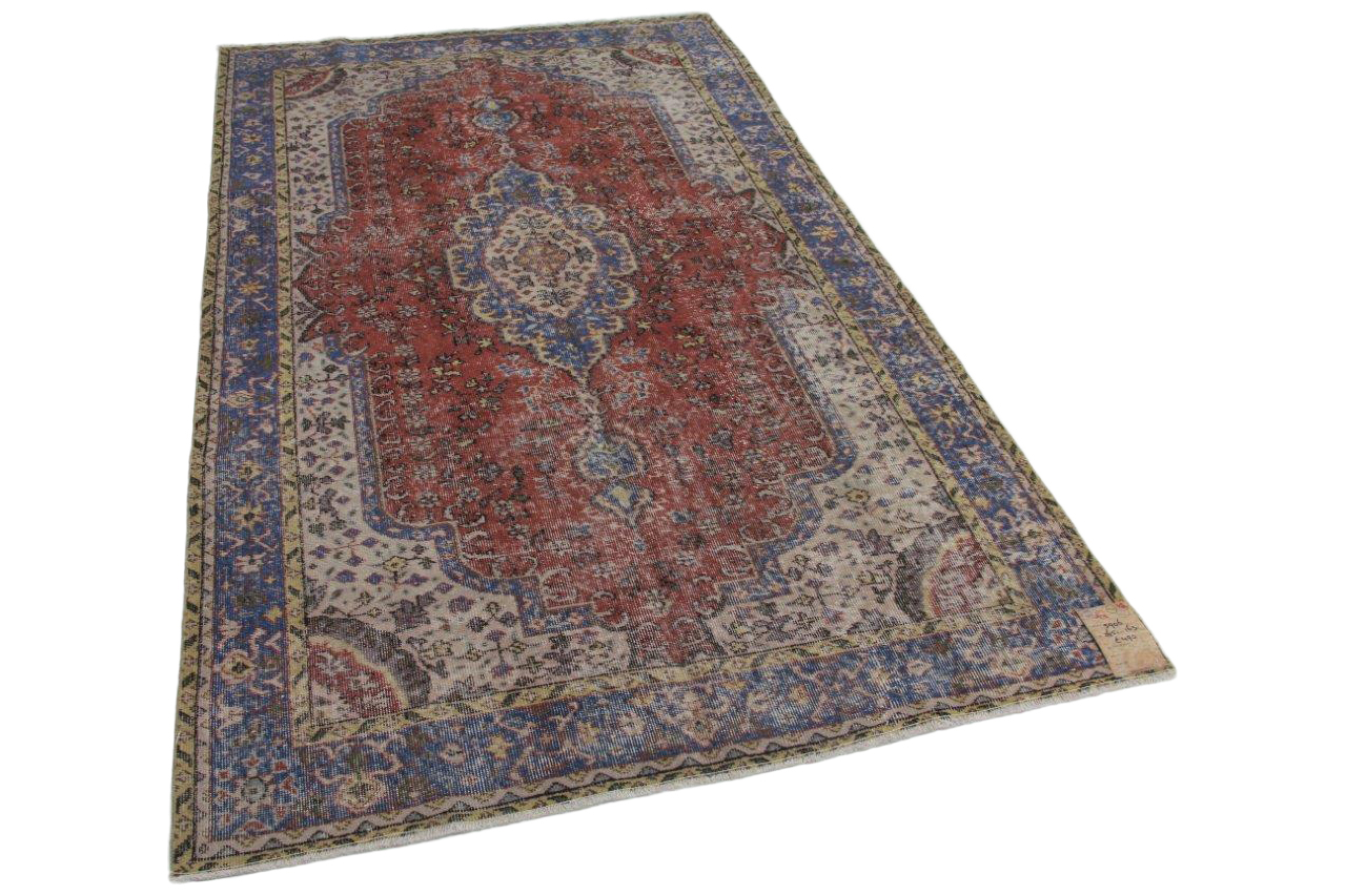 Vintage vloerkleed rood, blauw