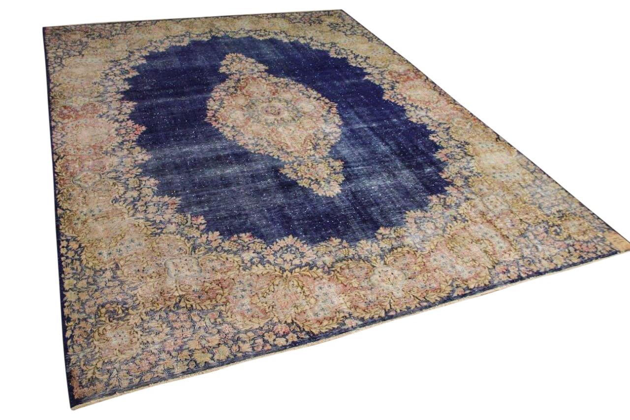 Vintage vloerkleed, zandkleur met blauw, 59414, 357cm x 238cm