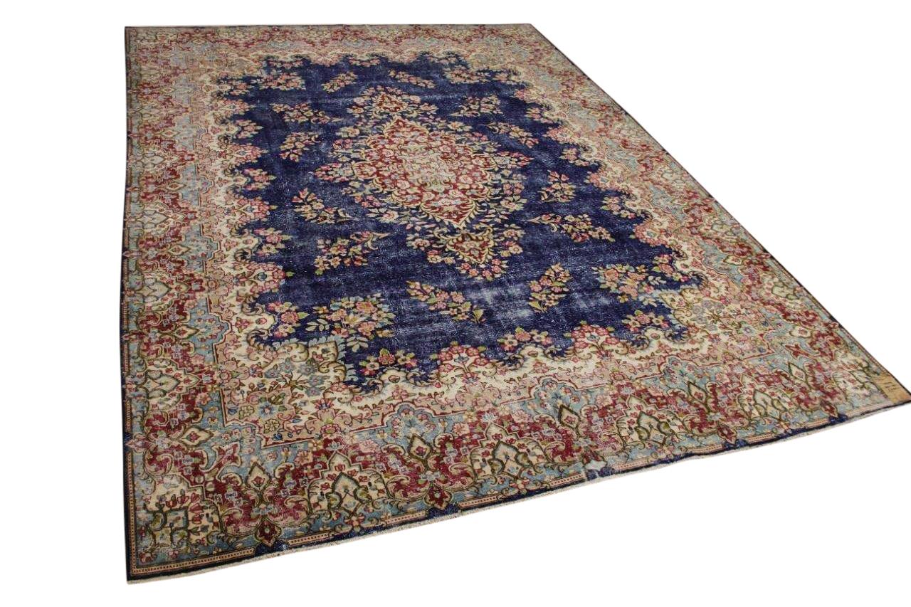 Vintage vloerkleed, blauw met rood, 59428, 400cm x 295cm