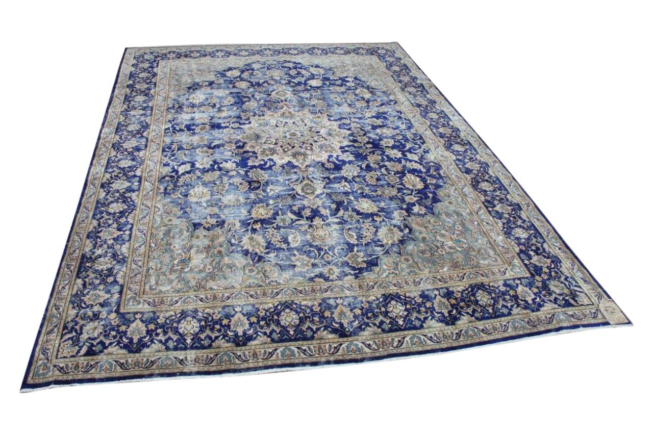Vintage vloerkleed, blauw, nr.59434, 366cm x 266cm