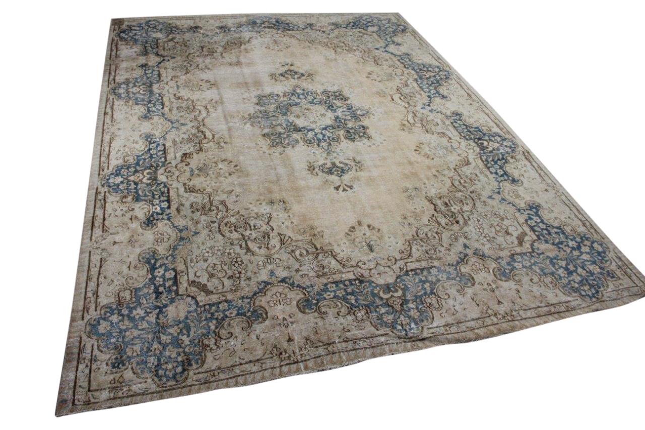 Vintage vloerkleed zandkleur met blauw, nr.59499 378cm x 285cm
