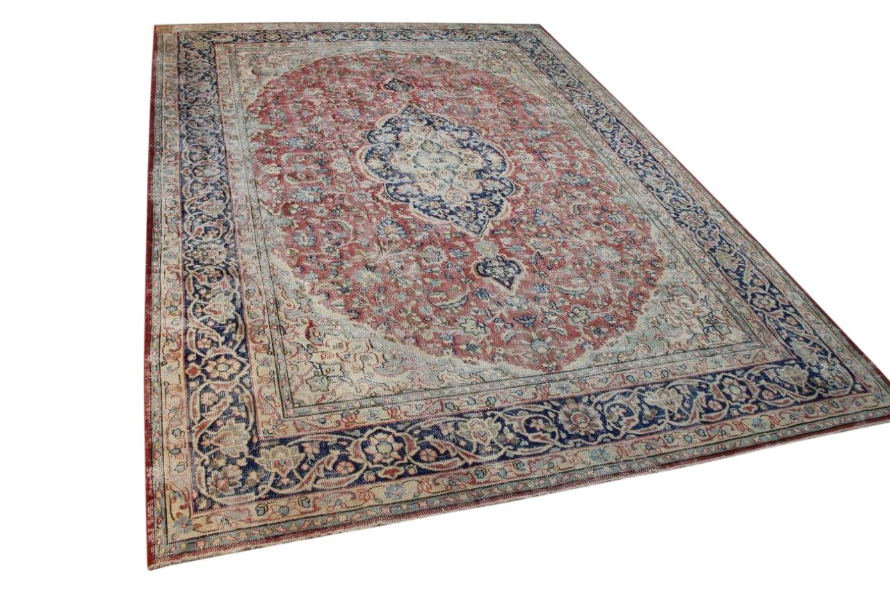 Vintage vloerkleed bruin en blauw en rood, nr.59550 399cm x 289cm