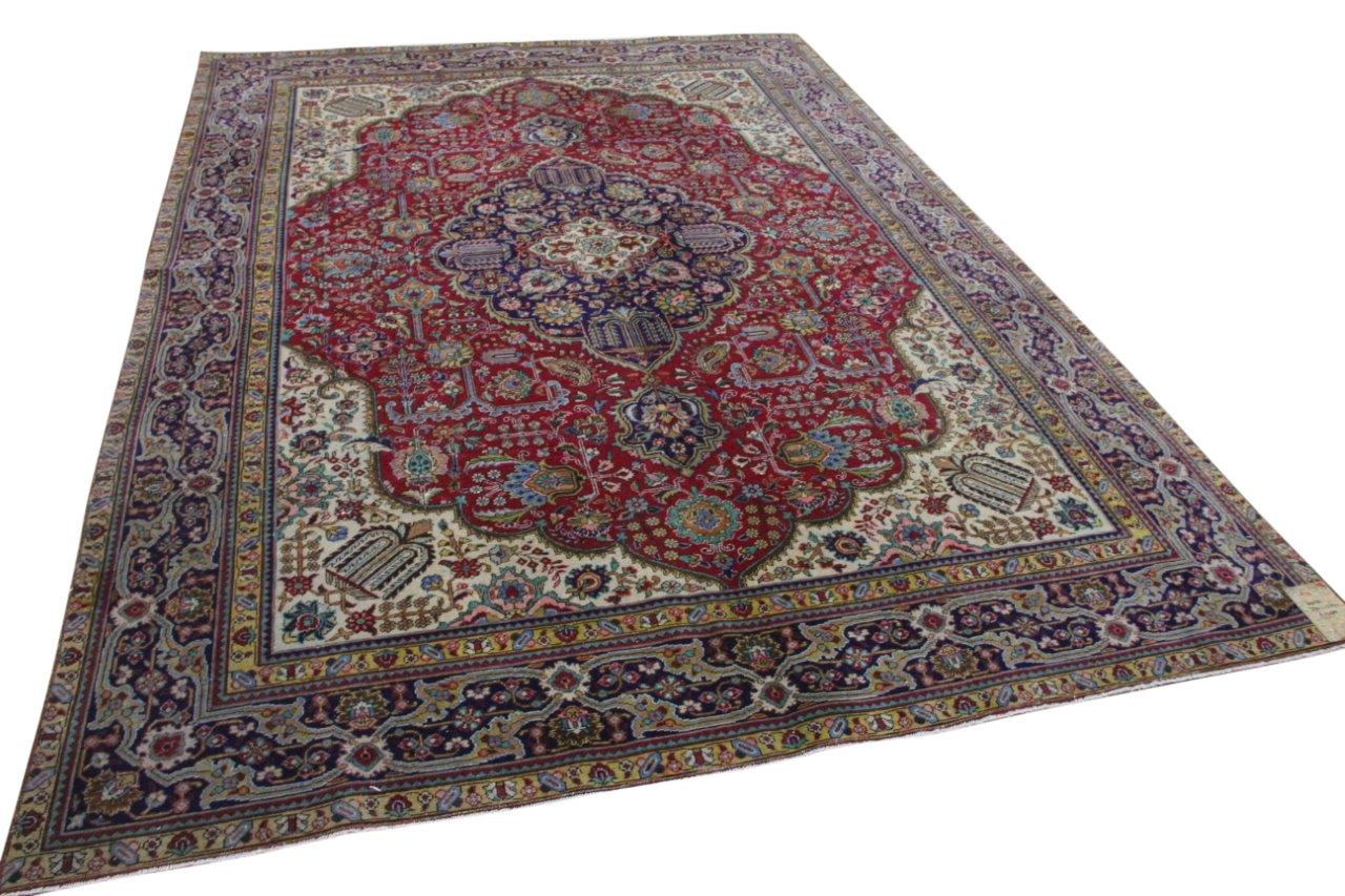 Vintage vloerkleed met rood en blauw, 60056, 340cm x 244cm