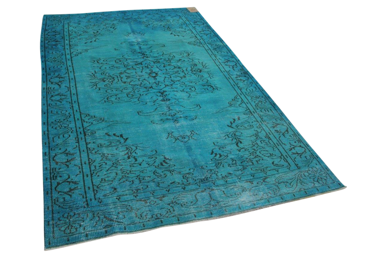Aqua blauw vloerkleed