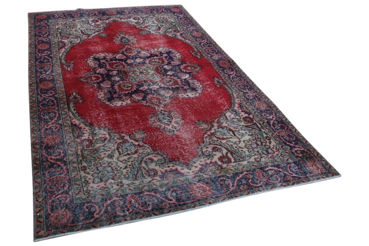 Vintage vloerkleed rood blauw  66610