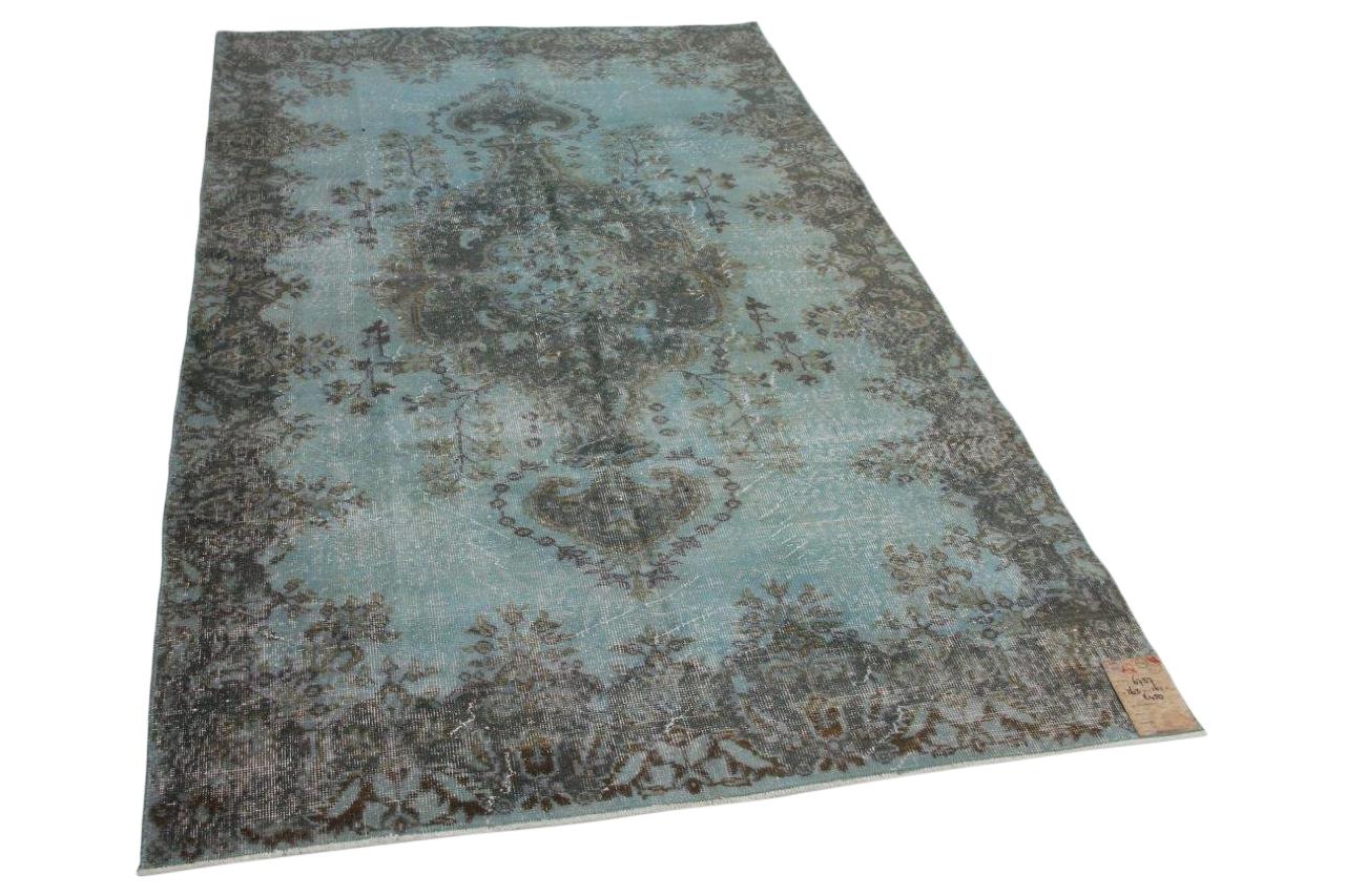 Blauw vintage vloerkleed 263cm x 161cm