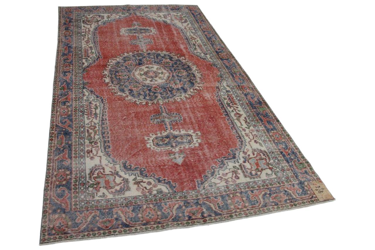 Vintage vloerkleed blauw met rood 301cm x 170cm