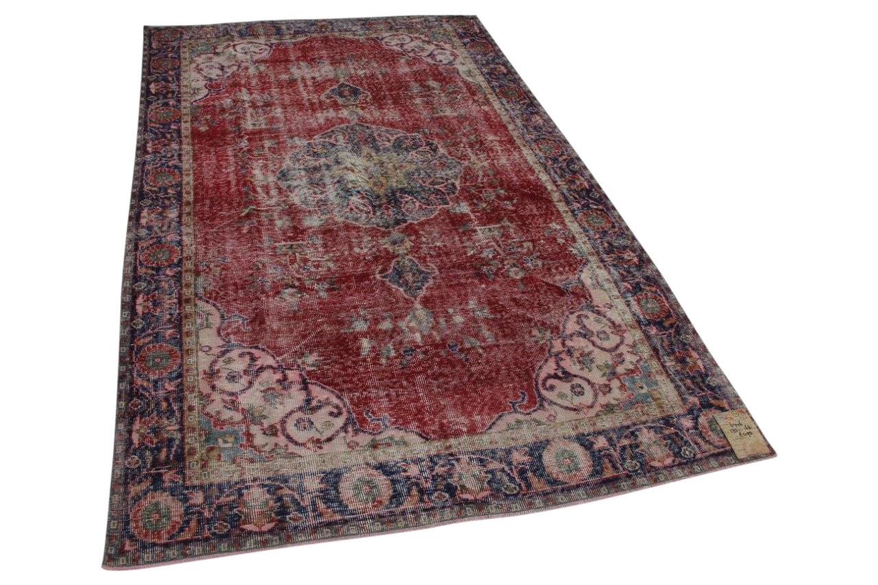 vintage vloerkleed rood met blauw 273cm x 168cm