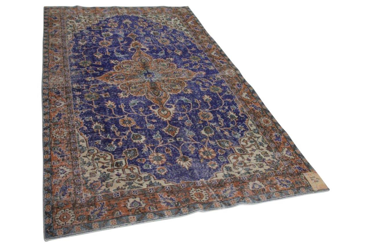 Vintage vloerkleed blauw met diverse kleuren 291cm x 169cm 6753