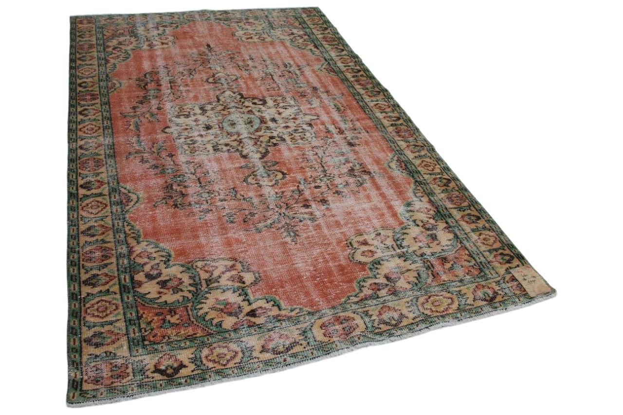 Vintage vloerkleed rood met diverse kleuren  286cm x 179cm