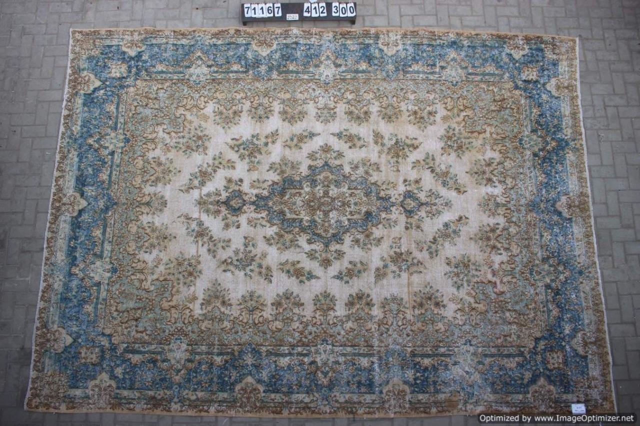 Vintage vloerkleed zandkleur met blauw, 71167, 412cm x 300cm