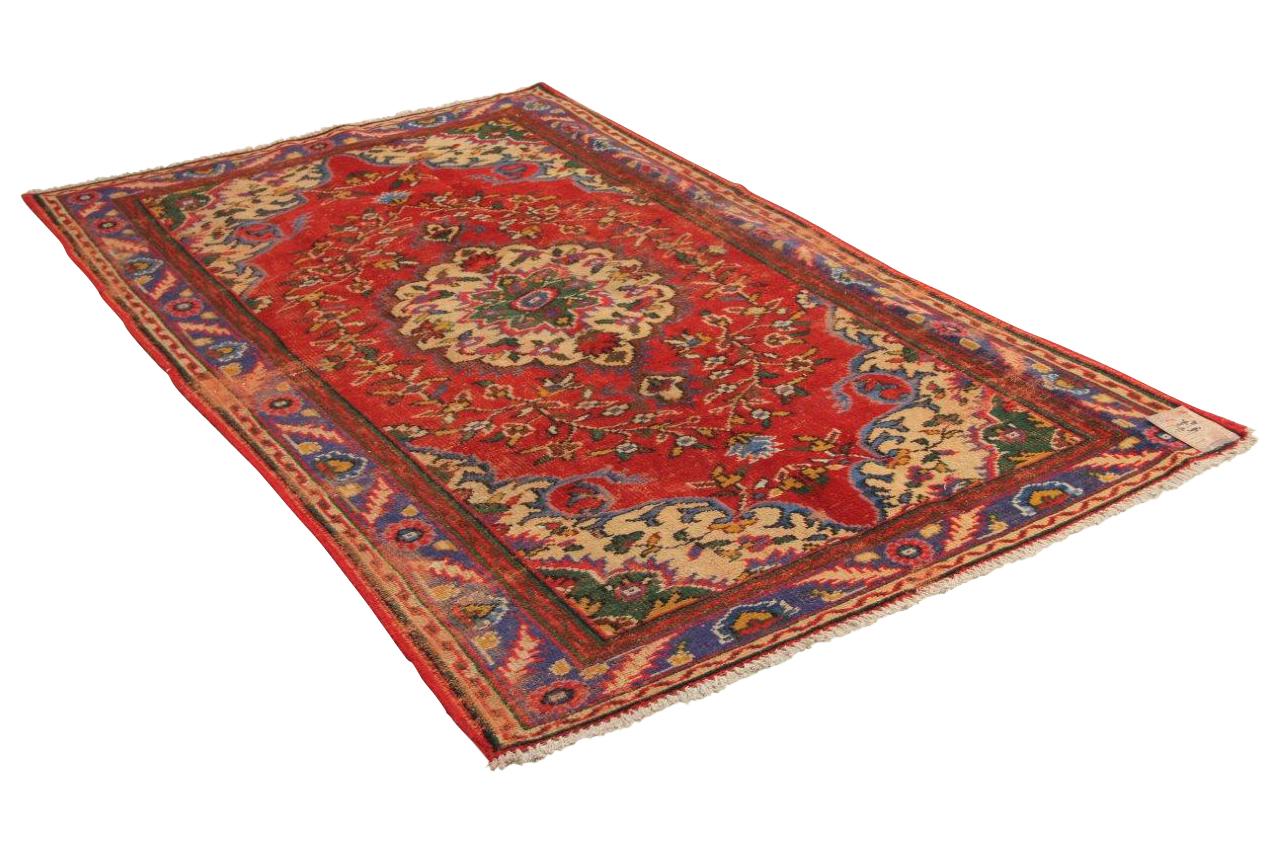 vintage vloerkleed, rood met blauw 270cm x 158cm