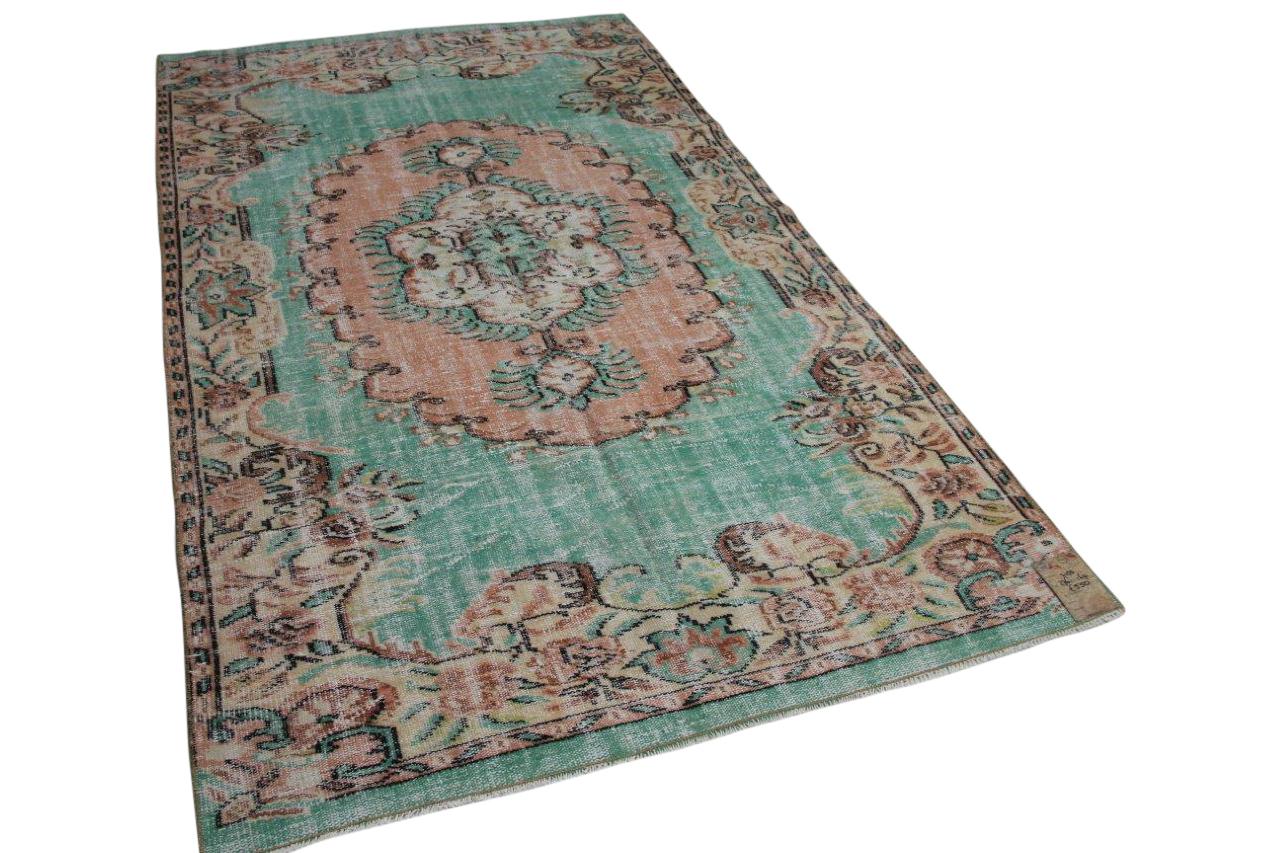 vintage vloerkleed groen 7150 276cm x 169cm