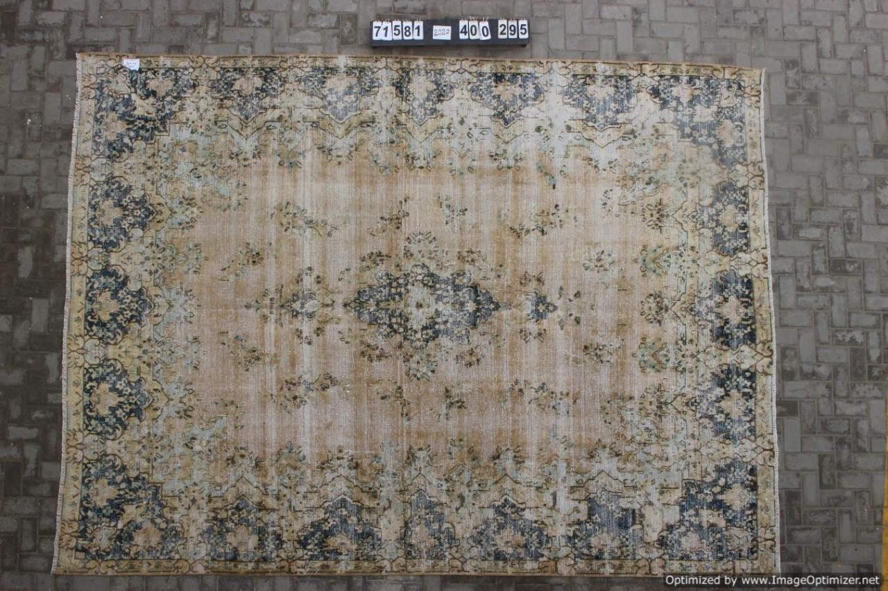 Vintage vloerkleed zandkleur met blauw, 71581, 400cm x 295cm