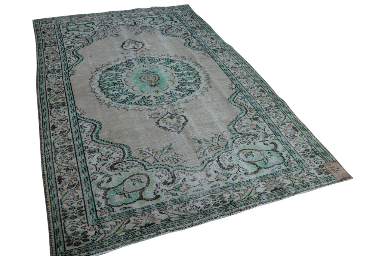 Vintage vloerkleed groen, 278cm x 181cm, nr7225