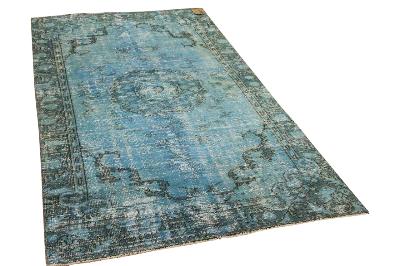 Vintage vloerkleed blauw 7242 265cm x 150cm