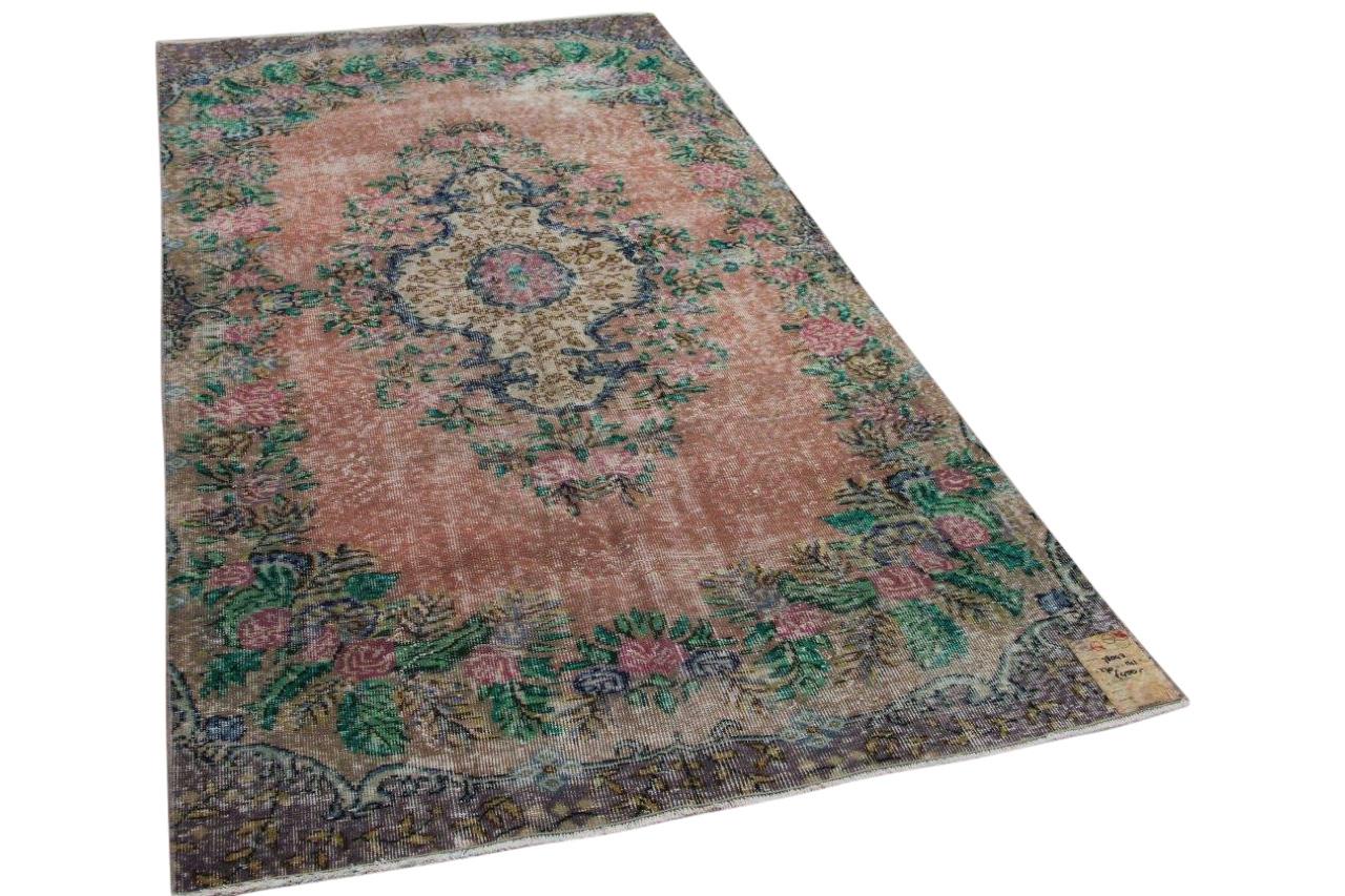 Vintage vloerkleed Taupe met diverse kleuren 270cm x 141cm