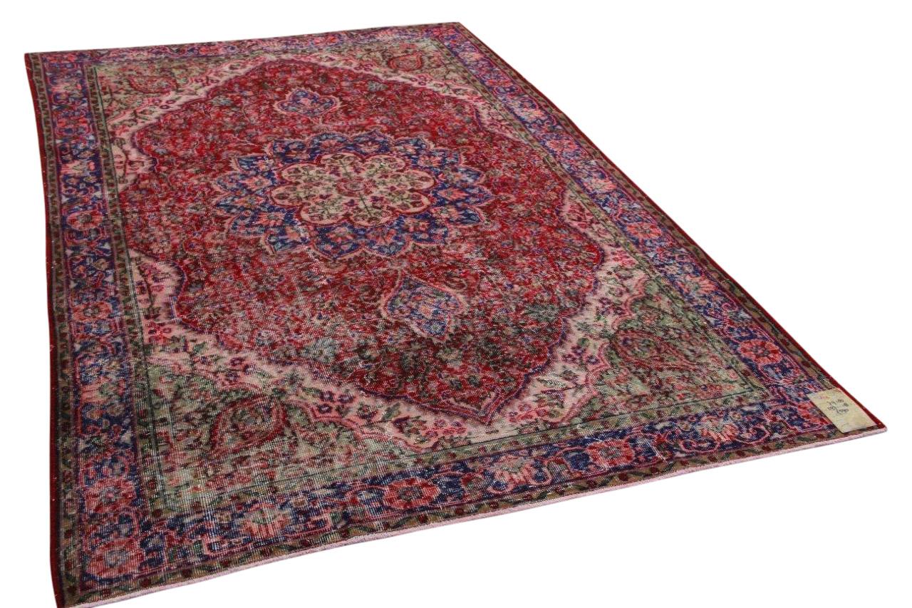 Vintage vloerkleed rood met blauw 297cm x 198cm