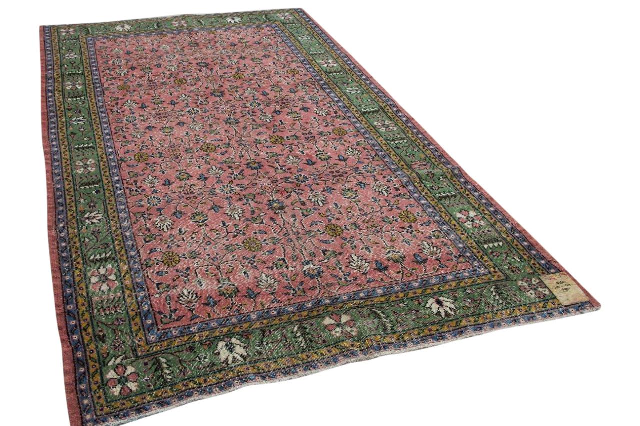 vintage vloerkleed groen met roze 82621 304cm x 174cm