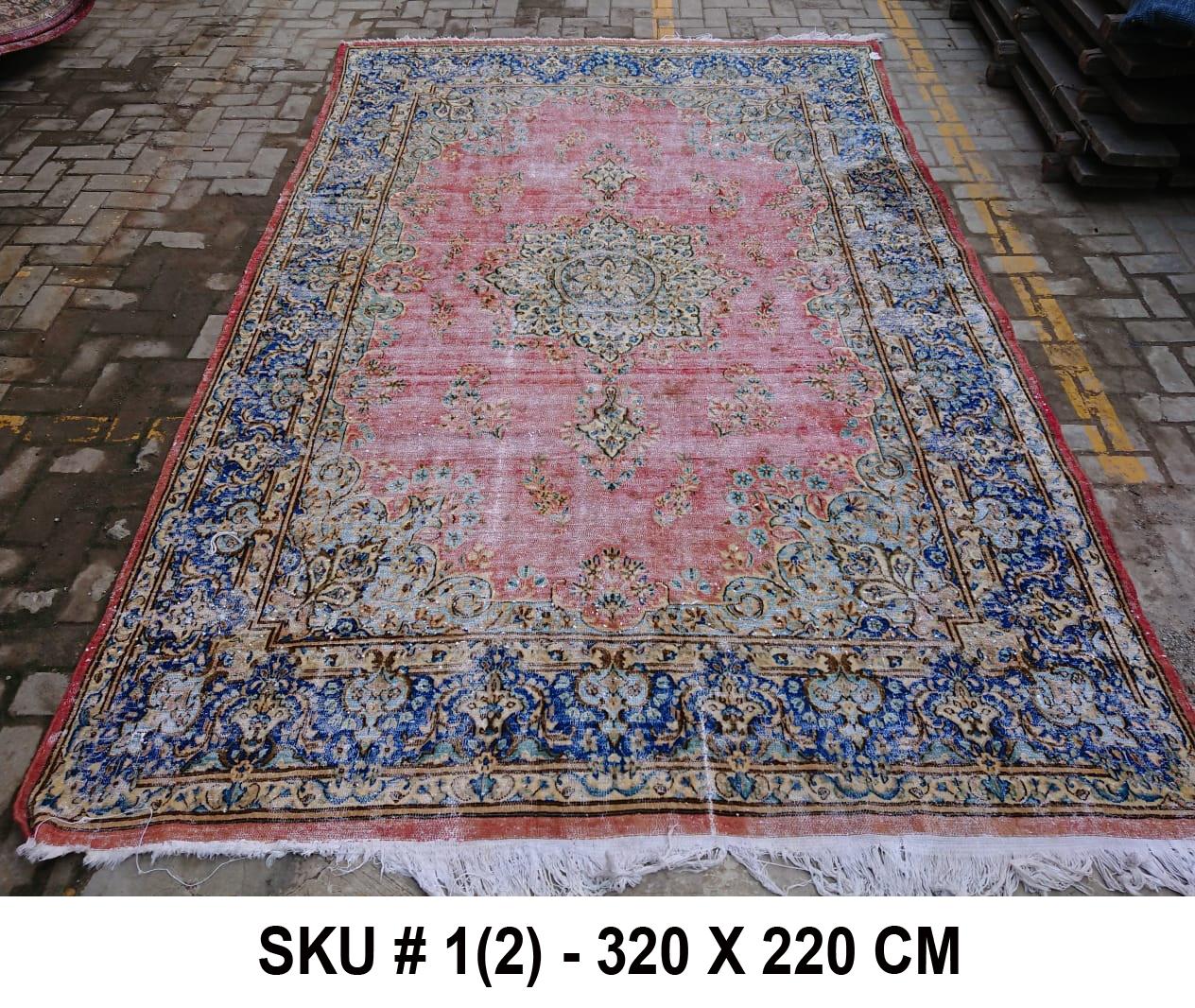 Vintage vloerkleed rood met blauw, nr.98001, 320cm x 220cm